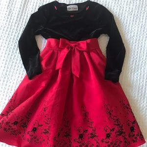 Velvet and red satin dress Christmas holiday